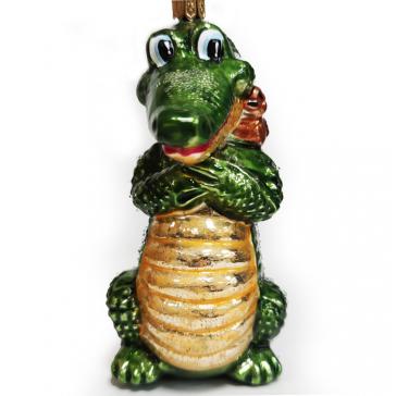 Стеклянная ёлочная игрушка «Крокодил с птичкой», 11,5 х 8 см