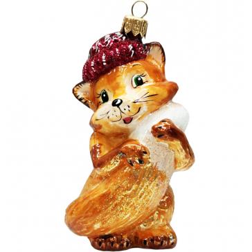 Стеклянная ёлочная игрушка «Лисичка в шапочке», 10 х 8,5 см