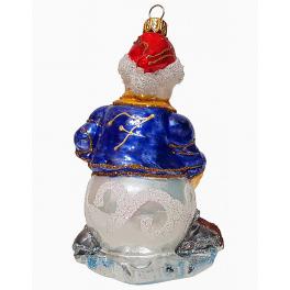 Стеклянная ёлочная игрушка «Снеговик-хоккеист», 14х7 см