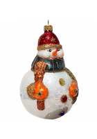 Ёлочная игрушка-шар «Снеговик с метлой»