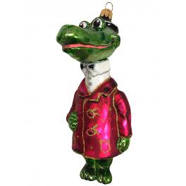 Стеклянная ёлочная игрушка «Крокодил Гена», 14х7 см