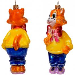 Стеклянная ёлочная игрушка «Кот Леопольд», 14х6 см