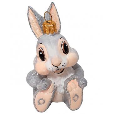 Стеклянная ёлочная игрушка «Заяц Тампер», 8,5х5 см