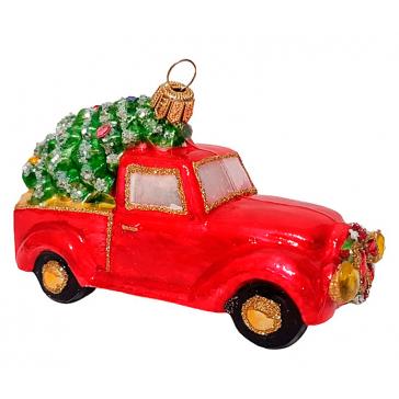 Стеклянная ёлочная игрушка «Машина с ёлочкой», 11,5 х 6 см