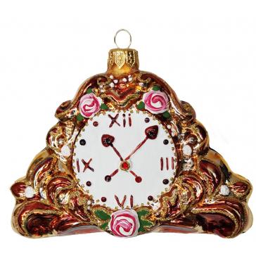Стеклянная ёлочная игрушка «Каминные часы», 12 х 8 см