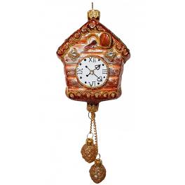 Стеклянная ёлочная игрушка «Часы с кукушкой», Размер 8 х 7 х 4 см, общая высота - 21 см
