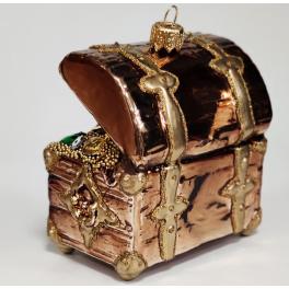 Стеклянная ёлочная игрушка «Сундук с сокровищами», 6х5х8 см