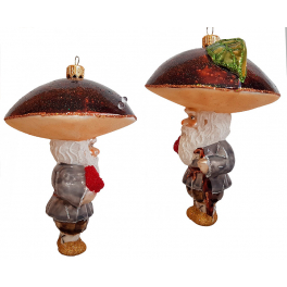 Стеклянная ёлочная игрушка «Гриб Боровик», ручная работа