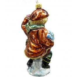 Стеклянная ёлочная игрушка «Мальчик со снежками», 12 см