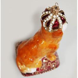 Стеклянная ёлочная игрушка «Корги в короне», 14 х 8 х 10 см