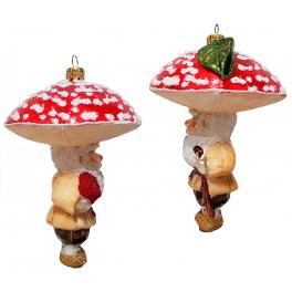Стеклянная ёлочная игрушка «Гриб Мухомор», ручная работа
