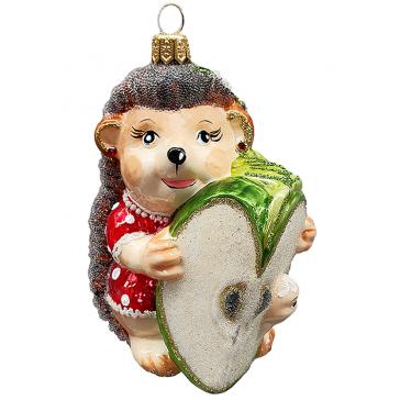 Стеклянная ёлочная игрушка «Ёжка с яблочком», 10 см