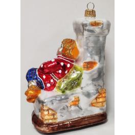 Стеклянная ёлочная игрушка «Емеля на печи», 13,5х10х5,5 см