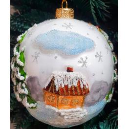 Стеклянный ёлочный шар с рельефом «Дедушка Мороз», размер 11х10 см