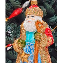 Стеклянная ёлочная игрушка «Дед Мороз с посохом», высота 16,5 см