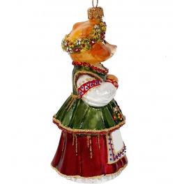 Стеклянная ёлочная игрушка «Нарядная лисичка», высота 13 см