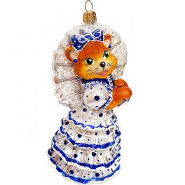 Стеклянная ёлочная игрушка «Кошка с зонтиком», 14,5х8 см