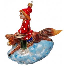 Стеклянная ёлочная игрушка «Конёк-Горбунок с Иванушкой», 14х16 см