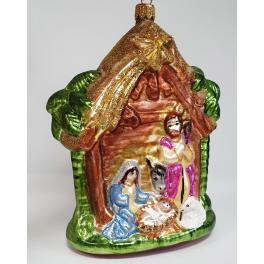 Стеклянная ёлочная игрушка «Рождество», 14,5х12,5 см