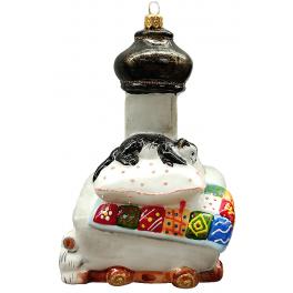 Стеклянная ёлочная игрушка «Печка», 14,5х9х6,5 см