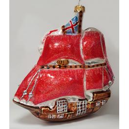 Стеклянная ёлочная игрушка «Алые паруса», 16х15,5 см