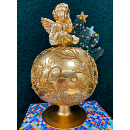 Стеклянная макушка на елку «Ангел», высота 22,5 см