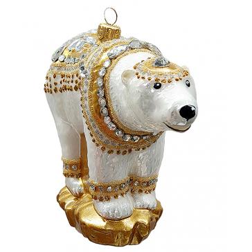 Ёлочная игрушка из стекла «Царский медведь», ручная работа