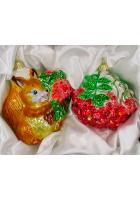 Набор ёлочных игрушек «Белочка и гроздь рябины»