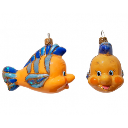 Стеклянная ёлочная игрушка «Флаундер», 9х12 см