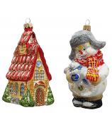 Набор ёлочных игрушек «Снеговик с зайкой и домик»