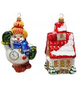 Набор ёлочных игрушек «Снеговик с часами и домик»