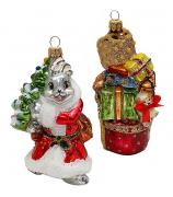 Набор ёлочных игрушек «Зайчик с ёлкой и подарки»