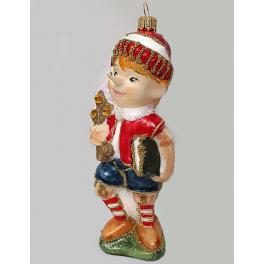Стеклянная ёлочная игрушка «Буратино с золотым ключиком», ручная работа