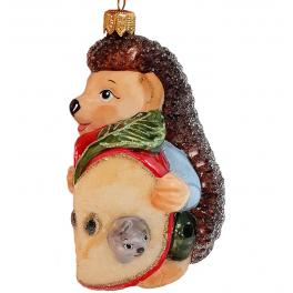 Стеклянная ёлочная игрушка «Ёжик с яблочком», 10 см
