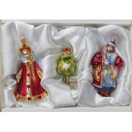 Стеклянные ёлочные игрушки в наборе «Царевна-лягушка»