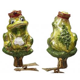 Стеклянная ёлочная игрушка на прищепке «Царевна-лягушка», 6,5 см