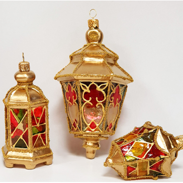 Стеклянные ёлочные игрушки в наборе «Фонарики», ручная работа