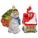 Набор ёлочных игрушек «Снеговик на коньках и домик»