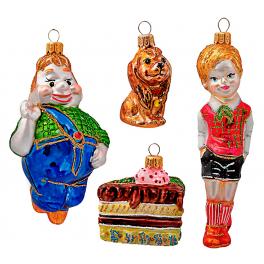 Стеклянные ёлочные игрушки в наборе «Малыш и Карлсон», ручная работа