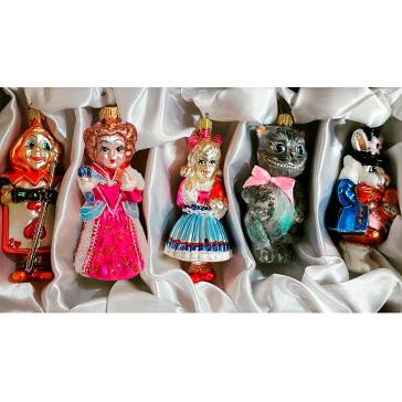 Стеклянные ёлочные игрушки в наборе «Алиса в стране чудес», ручная работа