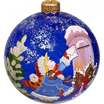 Стеклянный ёлочный шар «Письмо Деду Морозу», диаметр 10 см