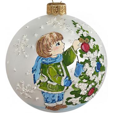 Стеклянный ёлочный шар «Мальчик у ёлочки», диаметр 10 см