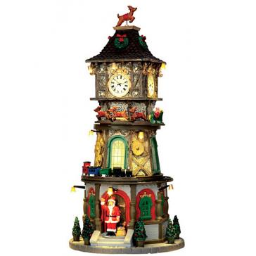 Новогодний музыкальный сувенир с подсветкой — Домик «Рождественская башня с часами»