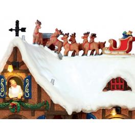 Новогодний музыкальный сувенир с подсветкой — Домик «В ожидании Рождества»