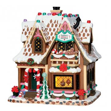 Новогодний сувенир с подсветкой — Домик «Магазин сладкого Стефани»