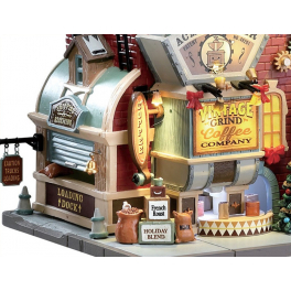 Новогодний музыкальный сувенир с подсветкой — Домик «Фабрика кофе»