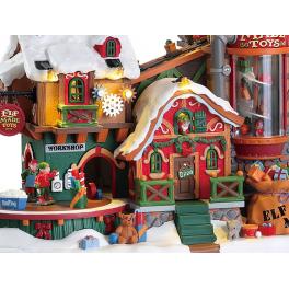 Новогодний музыкальный сувенир с подсветкой — Домик «Фабрика игрушек эльфов»