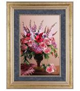 Вышитая картина «Ваза с цветами»