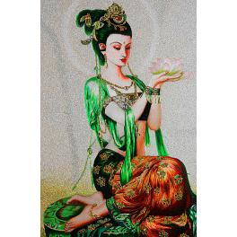 Вышитая шелковыми нитями картина «Богиня Фея лотоса», по Даосским легендам