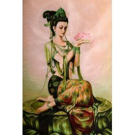 Вышитая шелковыми нитями картина «Богиня Фея лотоса», 70 х 100 см